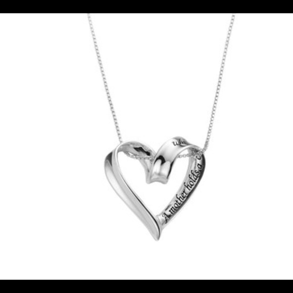 """Dainty Sterling Silver Necklace Heart Pendant 18/"""" New"""